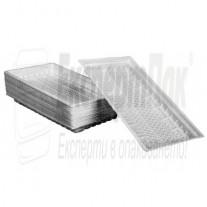 Пластмасови правоъгълни чинии / тарелки за храна Голяма 21/12см (100бр.)