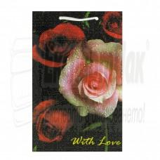 """Подаръчна торба """"Роза с капки"""" 24/37"""
