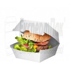 Картонена кутия за бургери / хамбургери / сандвичи Бяла.  Произвеждаме кутии с печат.