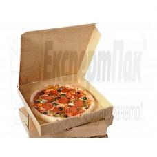 Фамилни кутии на за пица 60см. Кутия за пица фамилна.Кутия от картон за пица с размери 60/60см.Стек със сгъваеми кафяви кутии за пица с размери ф60. когато е сгъната