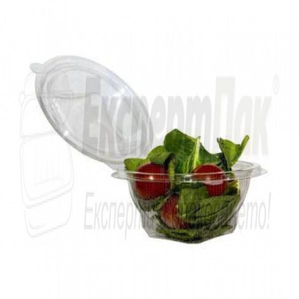 Пластмасови кръгли кутии за храна и салата 500 мл